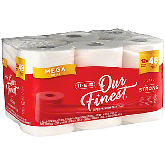 H-E-B Our Finest Ultra Strong Toilet Paper, 12 Mega Rolls