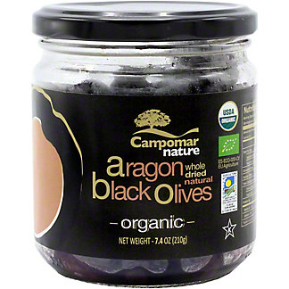 Campomar Nature Organic Dried Aragon Black Olives , 7.4 OZ