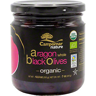 Campomar Nature Organic Aragon Black Olives Whole, 12.3 OZ