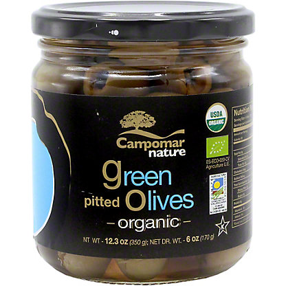 Campomar Nature Organic Green Pitted Olives, 12.3 OZ