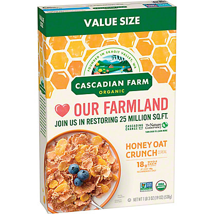 Cascadian Farm Organic Honey Oat Crunch Cereal Family Size, 19 oz