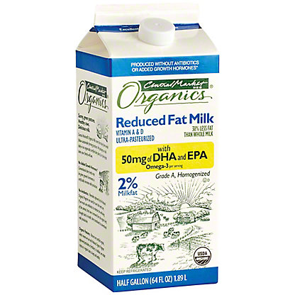 Central Market Organics 2% Reduced Fat Milk with DHA, 1/2 gal