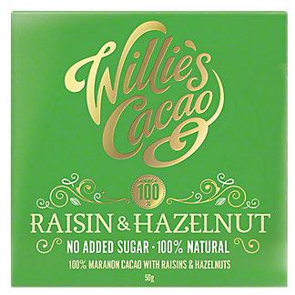 Willie's Cacao Raisin & Hazelnut 100% Chocolate, 50 g