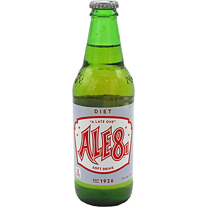 Ale 8 One Diet Soda, Glass, 12 fl oz