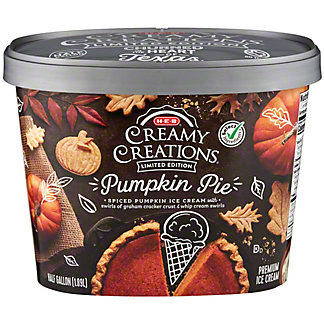 H-E-B Select Ingredients Creamy Creations Pumpkin Pie Limited Edition Ice Cream, 1/2 gal