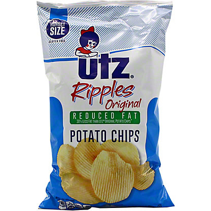 Utz Reduced Fat Ripple Potato Chips, 7.5 OZ