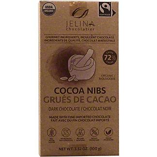 Jelina Chocolatier Cocoa Nibs 72% Dark Chocolate Bar, 3.35 oz