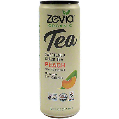 Zevia Organic Sweetened Black Tea Peach, 12 oz