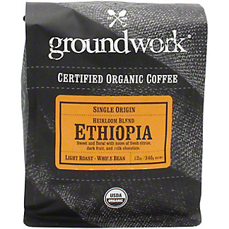 Groundwork Coffee Whole Beans Ethiopia Single Origin Organic, 12 oz