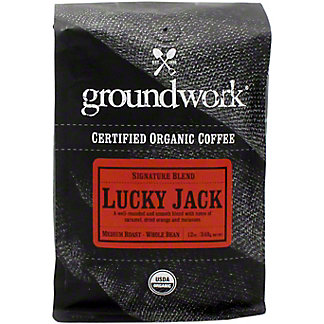 Groundwork Coffee Whole Beans Lucky Jack Organic, 12 oz