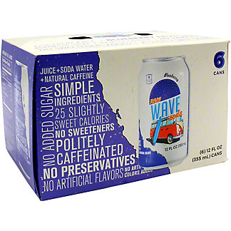 Wave Soda Blueberry Soda 12 oz Cans, 6 pk
