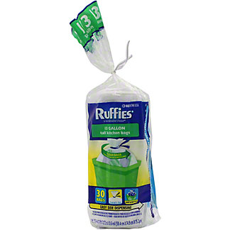 Ruffies Tall Kitchen Clear Bags 13 Gallon, 30 ct