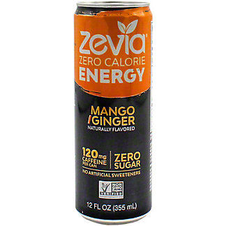 Zevia Energy Mango Ginger, 12 oz