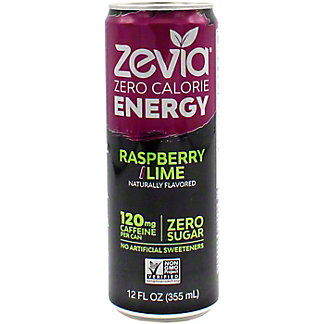 Zevia Energy Raspberry Lime, 12 oz