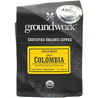 Groundwork Coffee Whole Beans Columbia Organic, 12 oz