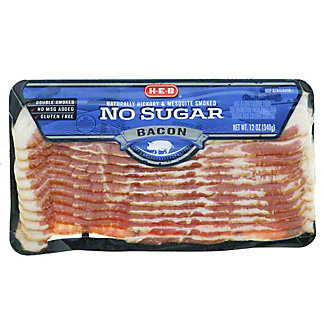 H- E-B No Sugar Added Bacon, 12 oz