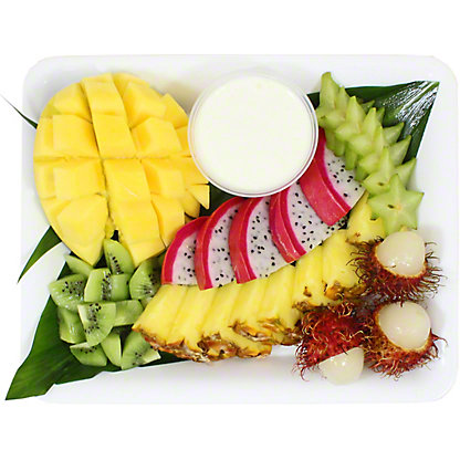 Chef Prepared Tropical Fruit Platter With Coconut Dipping Sauce, ea