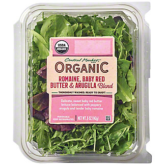 Central Market Organic Romaine, Baby Red Butter, and Arugula Blend, 5 oz