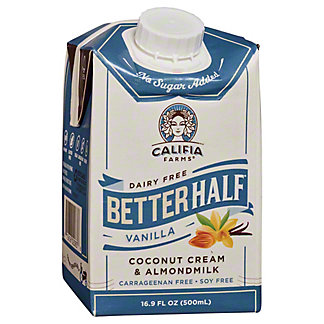 Califia Farms Better Half Vanilla Coconut Cream & Almondmilk Liquid Coffee Creamer, 16.9 oz