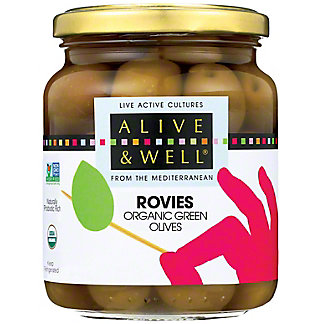 Alive & Well Olives Green Rovie Organic, 12.5 OZ