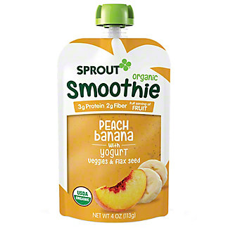 Sprout Smoothie Peach Banana with Yogurt Pouch, 4 oz