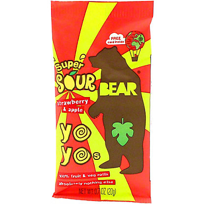 Bear Yoyos Fruit Roll Strawberry Sour, .7 oz