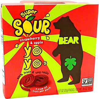 Bear Yoyos Fruit Roll Strawberry Sour Box, 3.5 oz