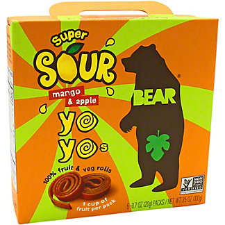 Bear Yoyos Fruit Roll Apple Mango Sour , 3.5 oz