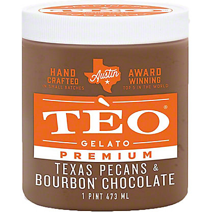 Teo Gelato Texas Pecans & Bourbon Chocolate, 16 OZ
