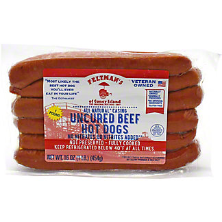 Feltman's Of Coney Island Hot Dogs W/natural Casing, 16 oz