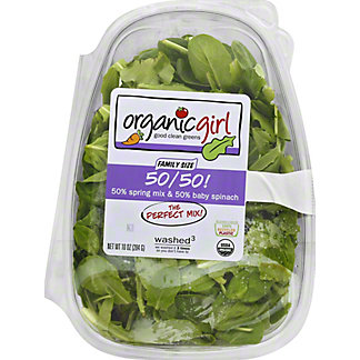 OrganicGirl Organic 50/50 Spring Mix and Baby Spinach, 10 oz