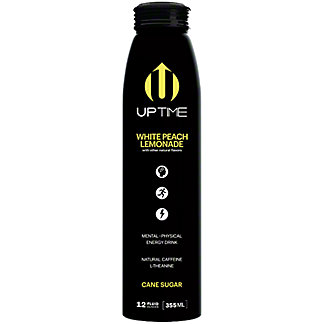 UPTIME White Peach Lemonade Energy Drink, 12 oz