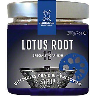 Wild Hibiscus Flower Co Lotus Root in Butterfly Pea Elderflower Syrup , 7 oz