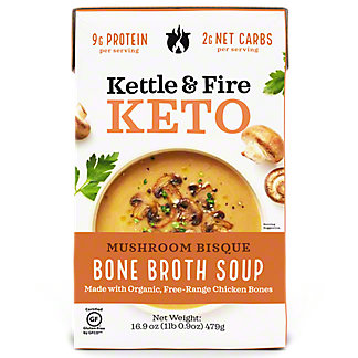 Kettle & Fire Keto Mushroom Bisque Soup with Chicken Bone Broth, 16.9 oz