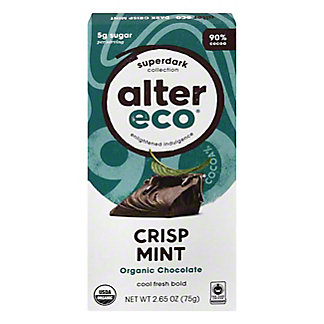 Alter Eco Chocolate Superdark 90% Crisp Mint, 2.65 oz