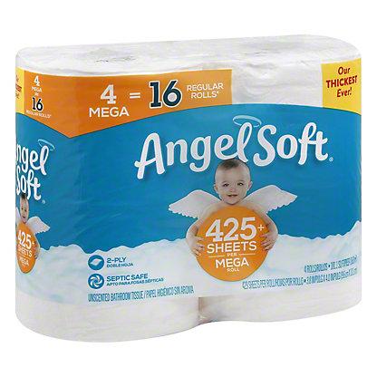 Angel Soft Classic White Toilet Paper, 4 Mega Rolls