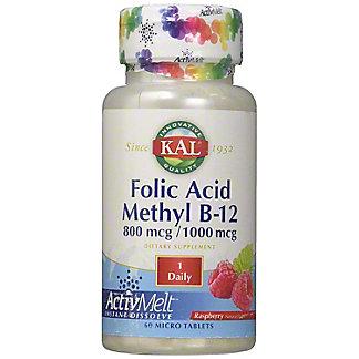 Kal Folic Acid Methyl B12 Activmelt, 60 ct
