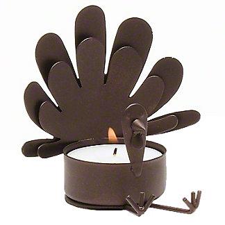 Tag Sitting Turkey Tealight Candle Holder, ea