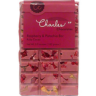 Charles Chocolate Ruby Bar Raspberry Pistachio, 3.5 oz