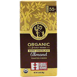 Equal Exchange Chocolates Dark Almond Organic Chocolate 55% Cacao , 2.8 oz