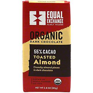 Equal Exchange Chocolates Dark Almond Organic Chocolate 55% Cacao, 2.8 oz
