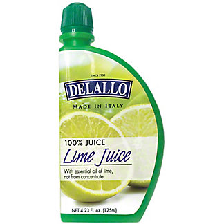 Delallo 100% Lime Juice, 4.23 oz
