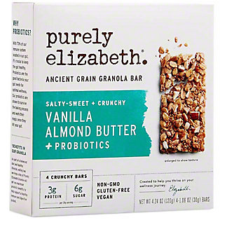 Purely Elizabeth Vanilla Almond Butter & Probiotics Bar , 4 ct, 1.06 oz ea