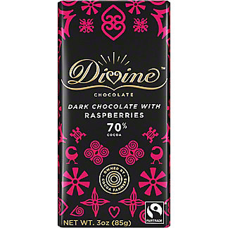 Divine Chocolate 70% Dark Chocolate with Raspberries, 3 oz