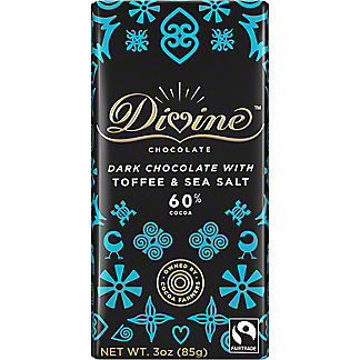 Divine Chocolate 60% Dark Chocolate with Toffee & Sea Salt, 3 oz