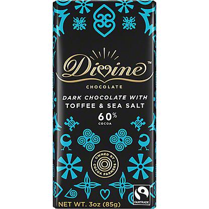 Divine Chocolate 60% Dark Chocolate with Toffee & Sea Salt, 3 oz