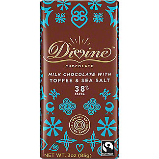 Divine Chocolate Divine Toffee & Sea Salt Milk Chocolate Bar, 3 oz