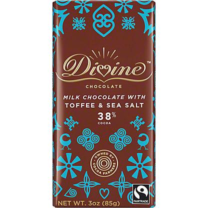 Divine Chocolate Divine Toffee & Sea Salt Milk Chocolate Bar, 3 oz