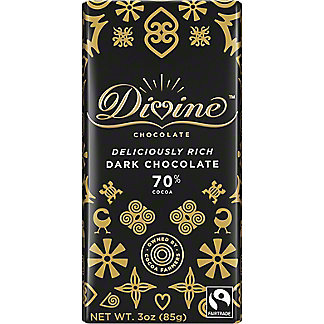 Divine Chocolate 70% Dark Chocolate, 3 oz