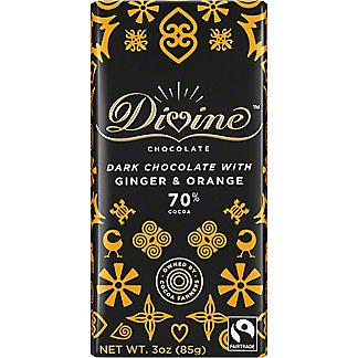Divine Chocolate 70% Dark Chocolate with Ginger & Orange, 3 oz